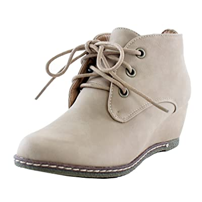 Nature Breeze Willow-01 Nubuck Round Toe Lace up Wedge Boots | Boots