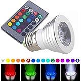 YRLED E27 RGB LED Light Bulb, Spotlight Bulb, LED Light Bulbs, Remote Controller Included (Silver 3W)