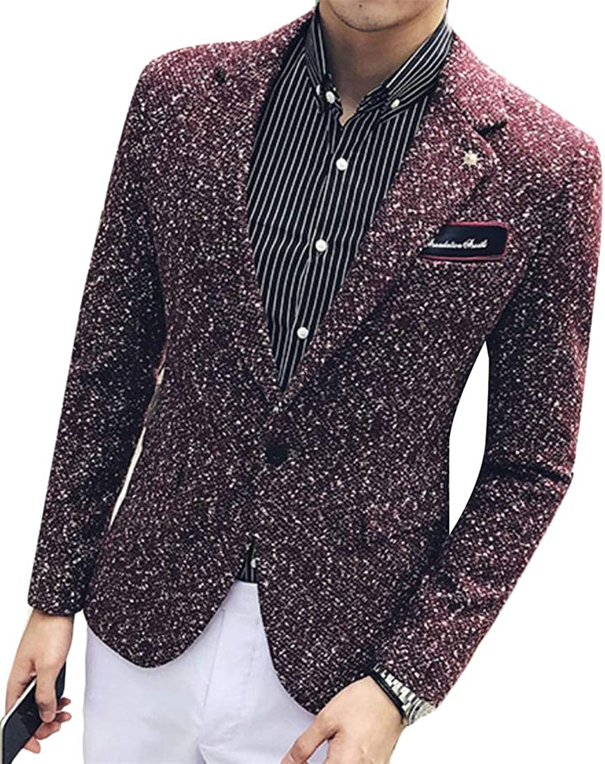 Macondoo Men One Button Wool Blended Outer Sport Coat Notched Lapel Blazer Jacket