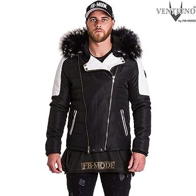 b3608ea9b6969 Ventiuno Modena Doudoune Homme bi-matière Cuir d agneau Fourrure véritable,  Blanc