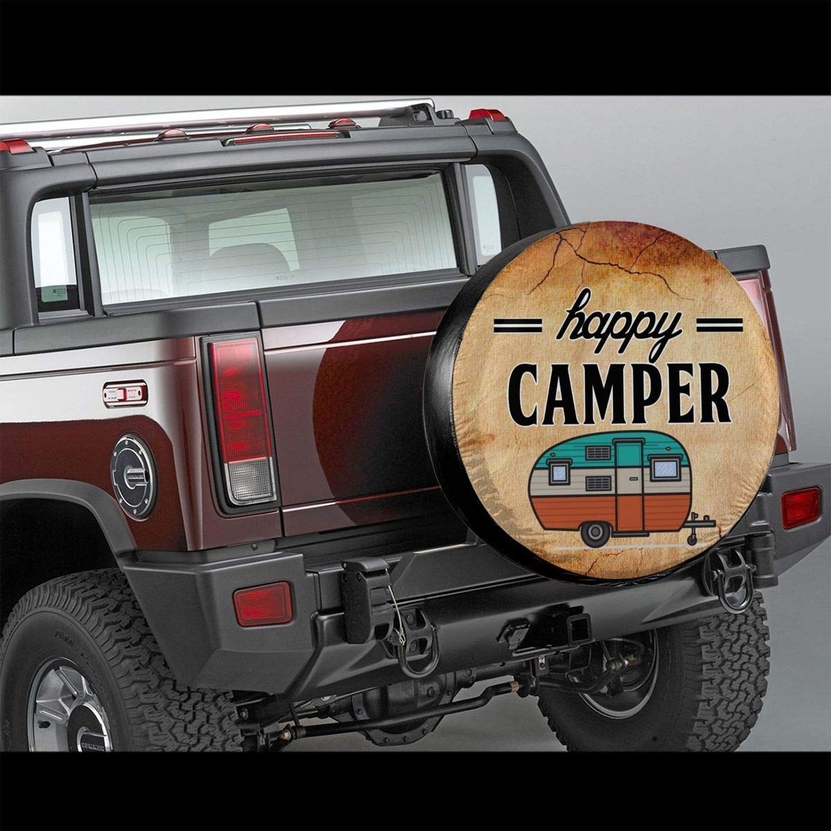 Happy Camper Camping Spare Tire Cover Dust-Proof Waterproof Wheel Covers Sunscreen Corrosion Protection for Trailer RV SUV Truck Camper Travel 14 15 16 17