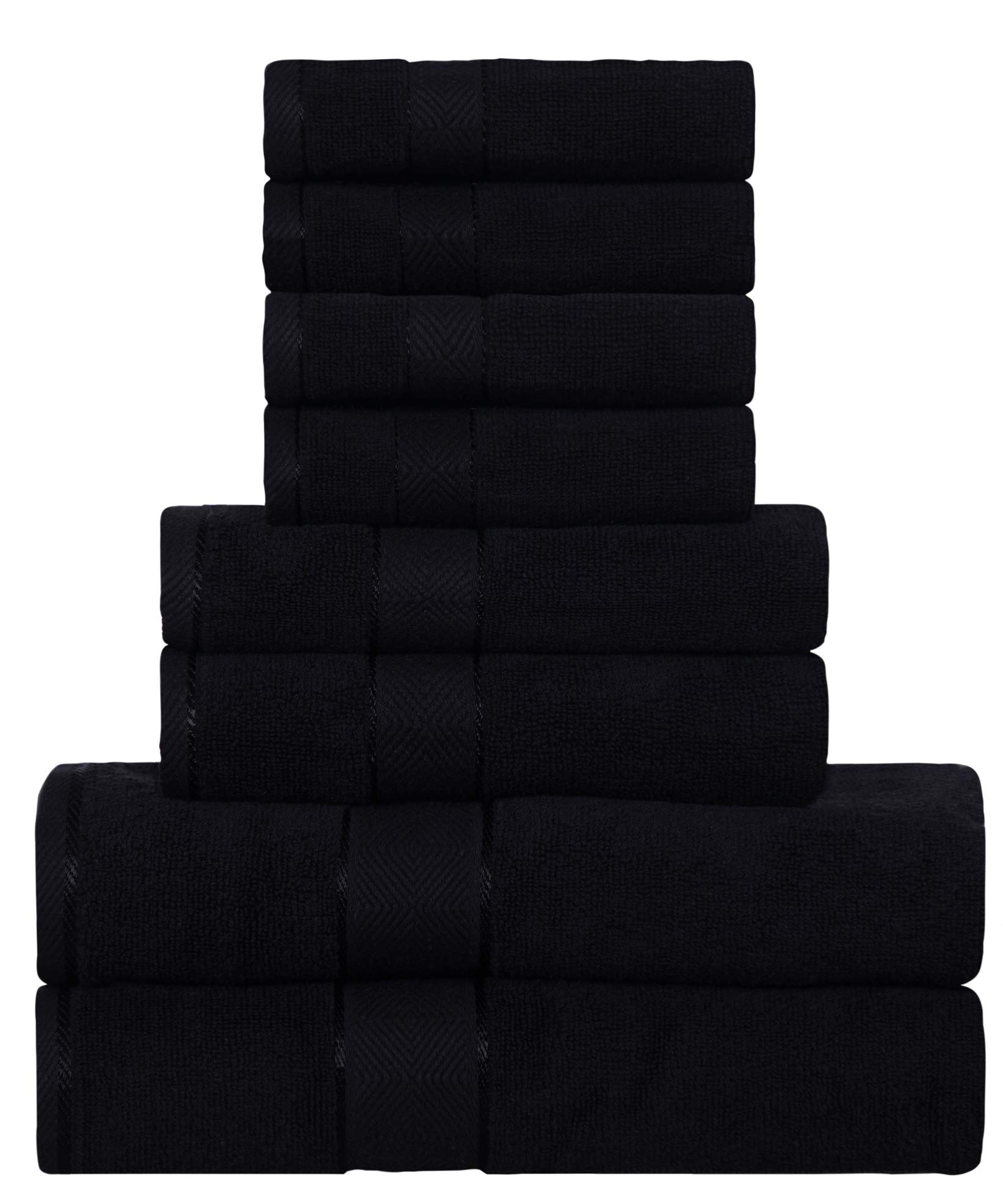 DIVINE Elysian - Premium ,100% Natural Ring-Spun finest quality double ply cotton yarn,Soft,Extra Absorbent & Durable, Quick-dry 8 Pc Towel Set (2 Bath Towels,2 Hand Towels & 4 Washcloths) - Black