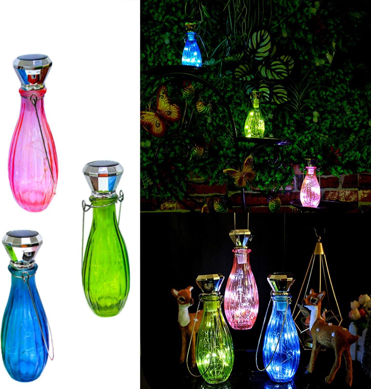 Starry Love 3 Pack Hanging Creative Diamond Solar Bottle Light, 10 LED Waterproof Fairy Lights (Including Wine Bottle, Hanger), Suitable for Wedding, Garden, Terrace Outdoor Decoration (White Light)