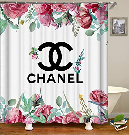 OCCIGANT Home Decor Waterproof Polyester Shower CurtainNordic Style Big Word Chanel And Logo Printed