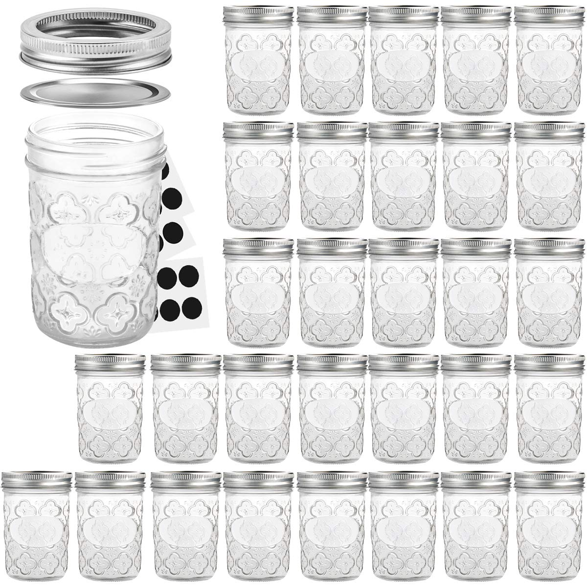 Mason Jars 8 OZ, VERONES Canning Jars Jelly Jars With Regular Lids and Bands, Ideal for Jam, Honey, Wedding Favors, Shower Favors, Baby Foods, 30 PACK