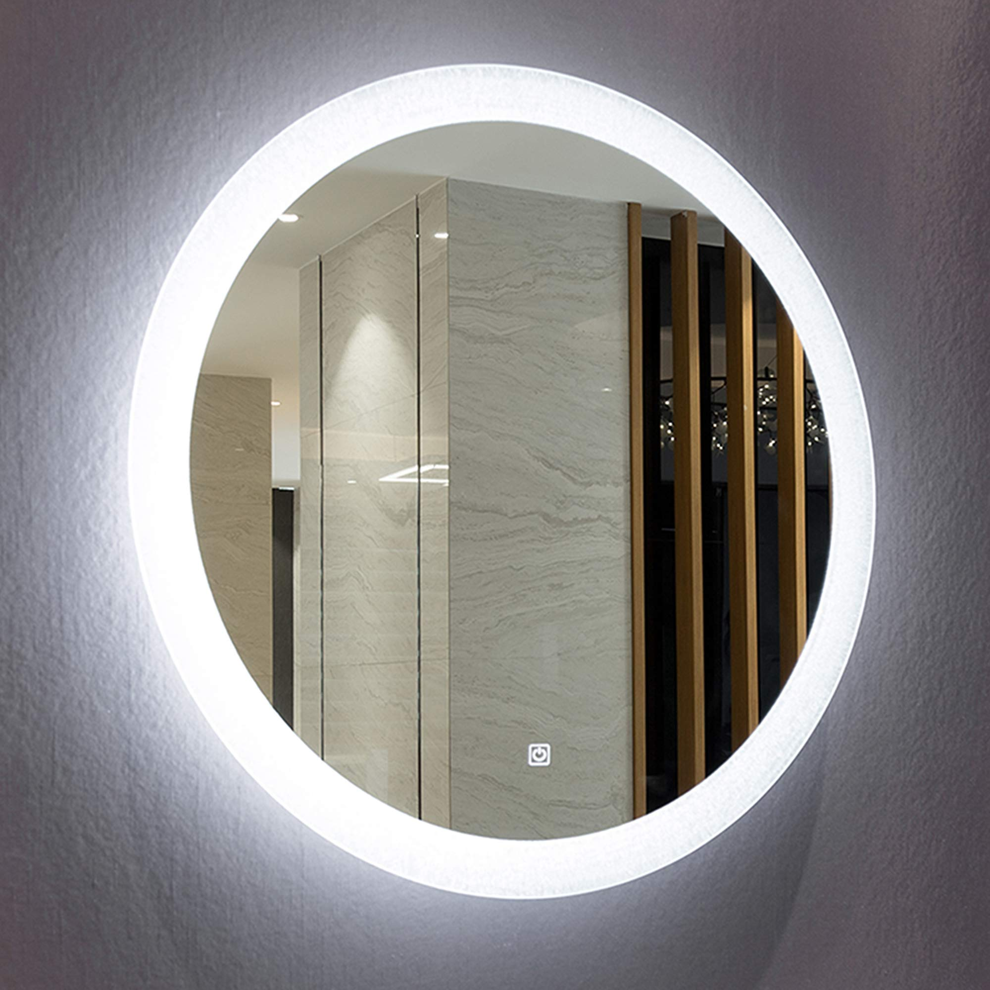 Mirrors and More LED Backlit Wall Mirror | Frameless Polished Edge Silver Backing with a Round Illuminated Frosted Strip | Vanity | Bathroom | Makeup | 24'' Diameter
