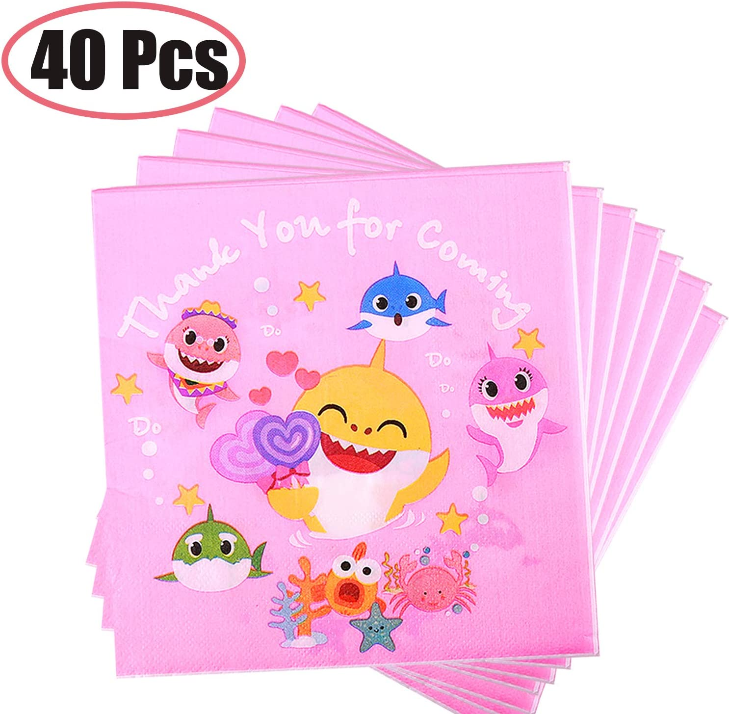 40 Pcs Baby Cute Napkins, Baby Dessert Tableware Disposable Paper Napkins for Baby Shower Kids Birthday Party Decorations Supplies (Pink)