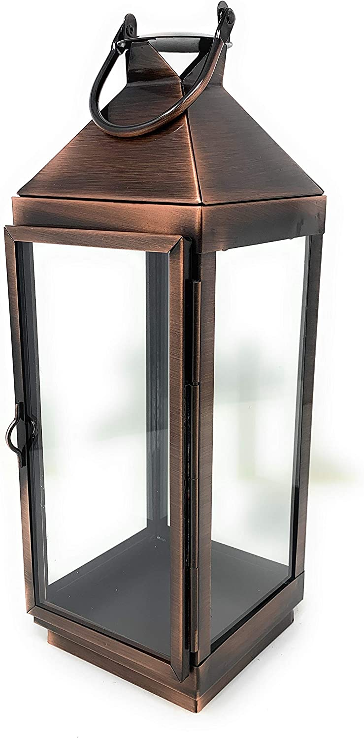 Serene Spaces Living Decorative Copper Finish Steel Glass Square Lantern Metal Tabletop Or Hanging Candle Lantern For Wedding Event Patio Garden Home Measures 12 Tall 4 Square Home