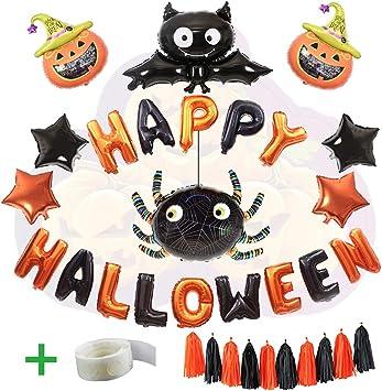 WLZP Decoración de Halloween, 24 Pack Incluyen Happy Halloween Banner Foil Letter Globo Party Supplies, Black Bats ...