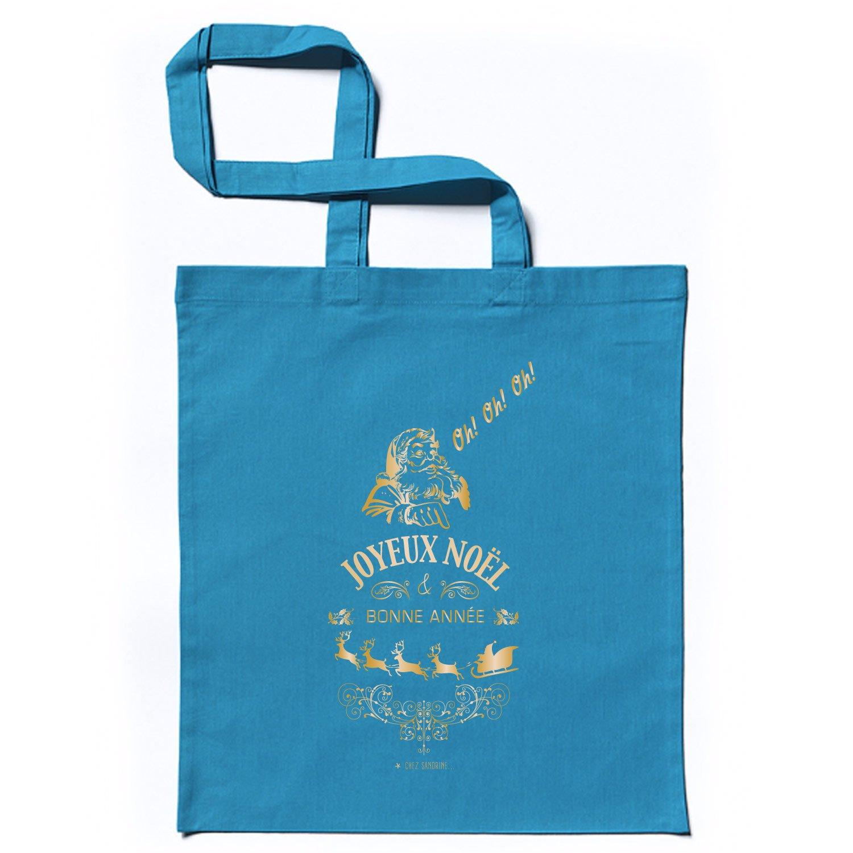 Tote Bag Imprimé Joyeux Noël en Coton - Sacs de courses et Cabas (10 pièces, Bleu) Chez Sandrine