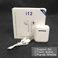 Upgraded 2019 i12 TWS Bluetooth Hot pop-up Wireless Earphones Earbuds Sports One Touch, 3D Noise Canceling HD Stereo Sound with Mic and Charging Case for iPhones Androids,Tablets and Portable Media Players. Auto Pairing and Siri Assistant