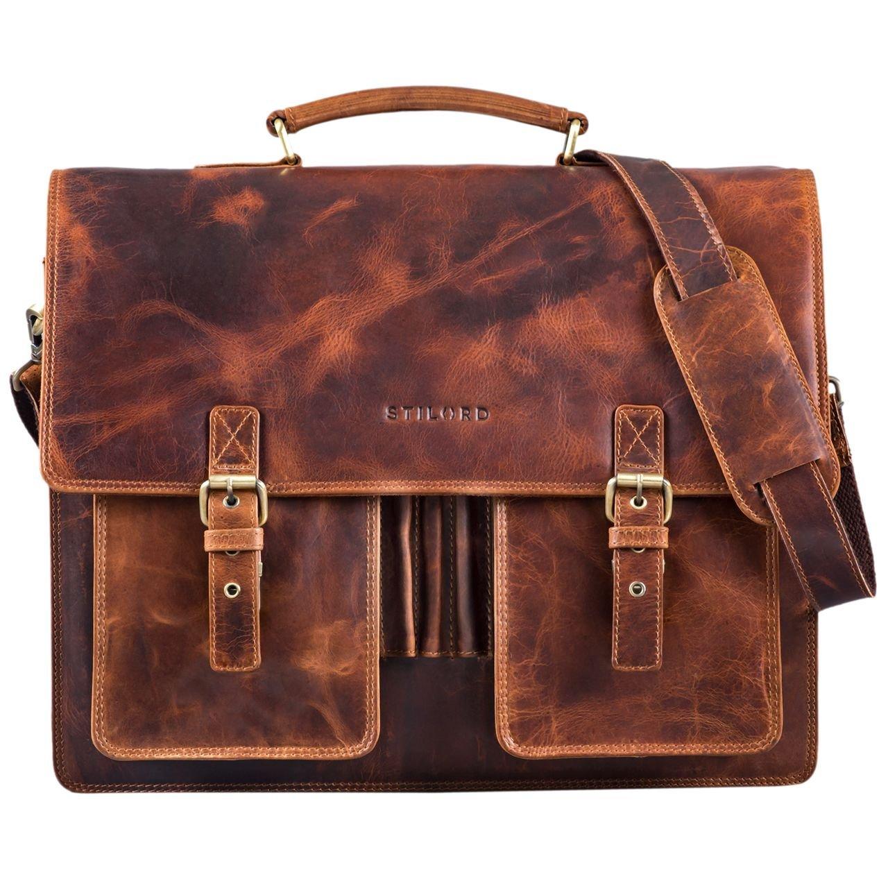 bab50f47b8525 ... STILORD Anton Aktentasche Leder XL Vintage Lehrertasche mit Laptopfach 15