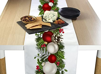 Fabric Textile Products Christmas Garland Border Table Runner 14 X108