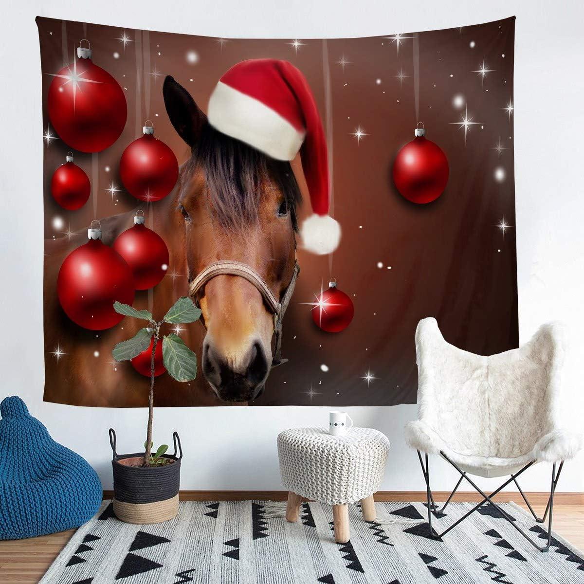 Juego Dede Pared con de Caballo con Motivos navideños,pequeñas,, Tapiz Impreso en 3D, de Animales Salvajes, Manta de Pared, de habitación, tapices Grandes de 58 x 79 cm