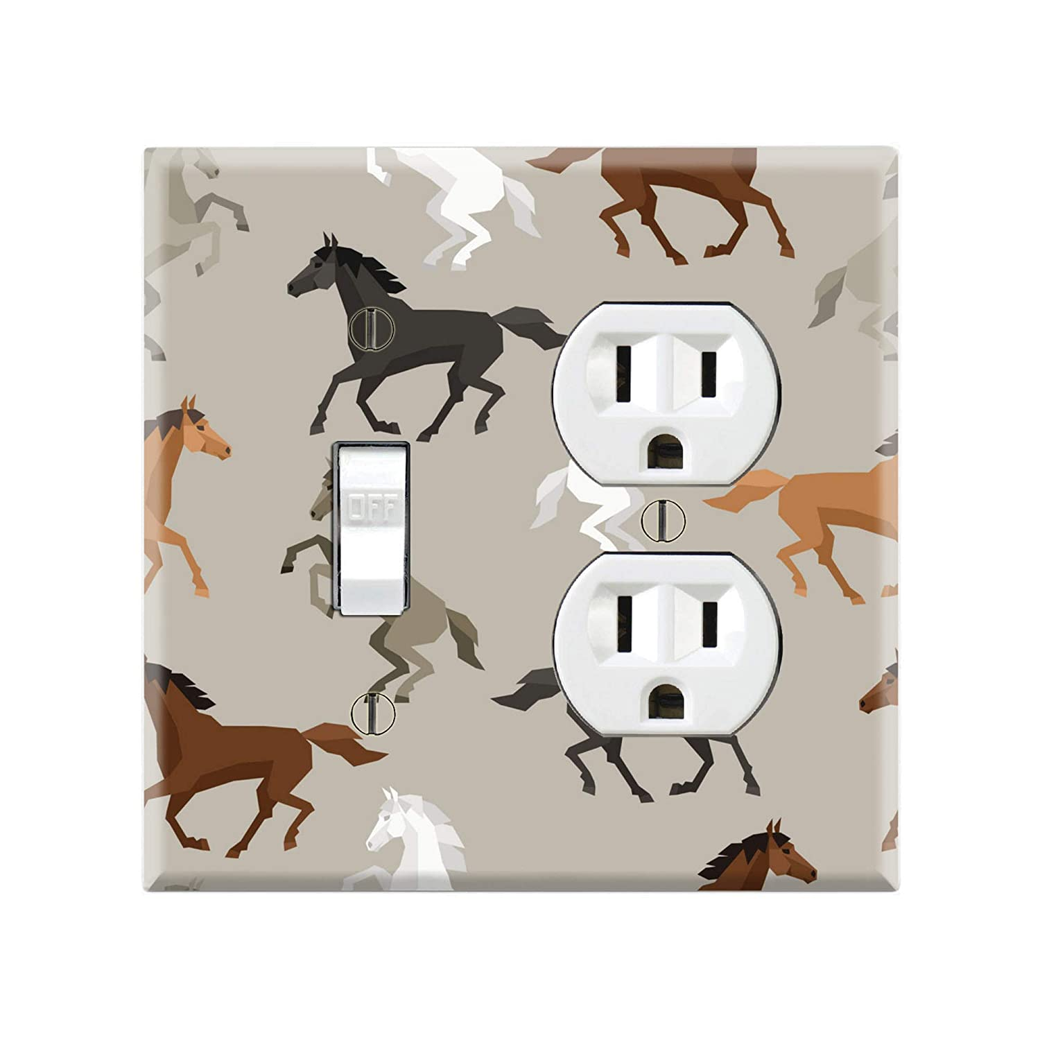 Black /& Brown Running Horse/'s Themed Light Switch Cover Choose Your Cover