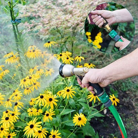 Navaris Ducha para regar de Metal - Alcachofa de riego con Flujo de Agua Ajustable - Boquilla de Manguera a Prueba de Goteo para jardín y terraza: Amazon.es: Jardín