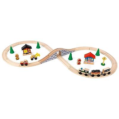 KidKraft Figure 8 Train Set, Natural: Toys & Games