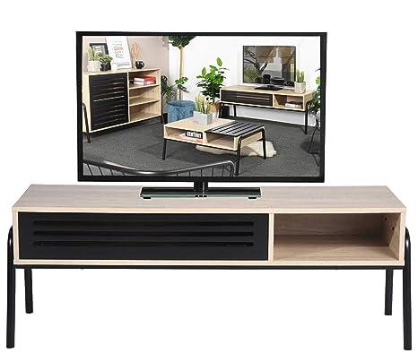 Porta Tv Da Mobile.Mobile Tv Mobile Tv Moderno 125 Cm Con Cavita Nera Ripiani Porta Tv In Legno Per Soggiorno Camera Da Letto Rovere