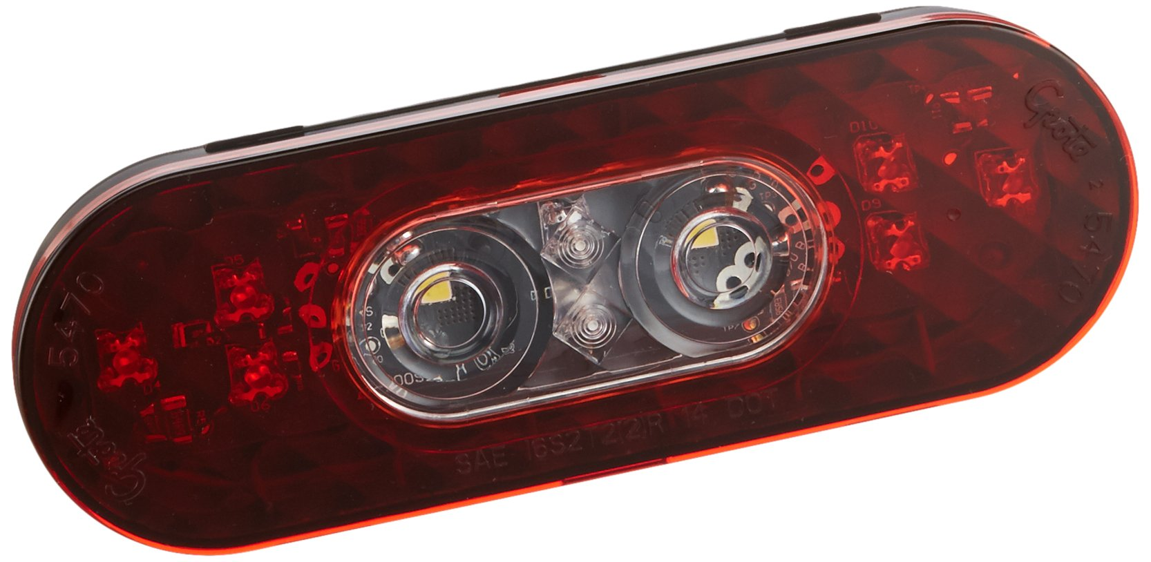 Grote 54682 6'' Oval LED Stop Tail Turn Light with Integrated Back-up (Female Pin Termination)