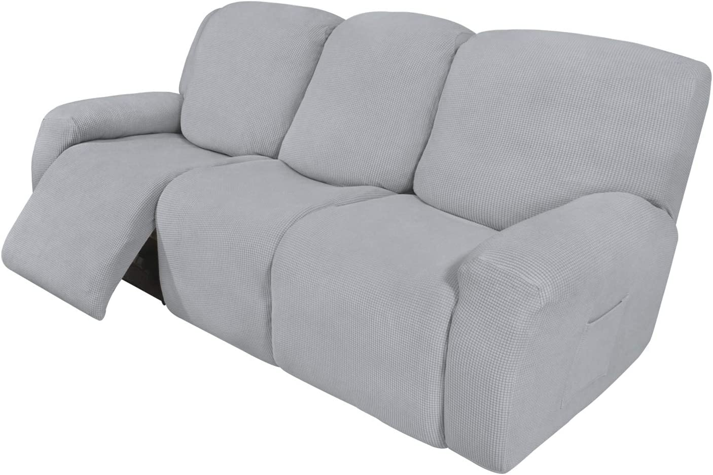 Easy-Going 8 Pieces Recliner Sofa Stretch Sofa Slipcover Sofa Cover Furniture Protector Couch Soft with Elastic Bottom Kids, Spandex Jacquard Fabric Small Checks Silver Gray