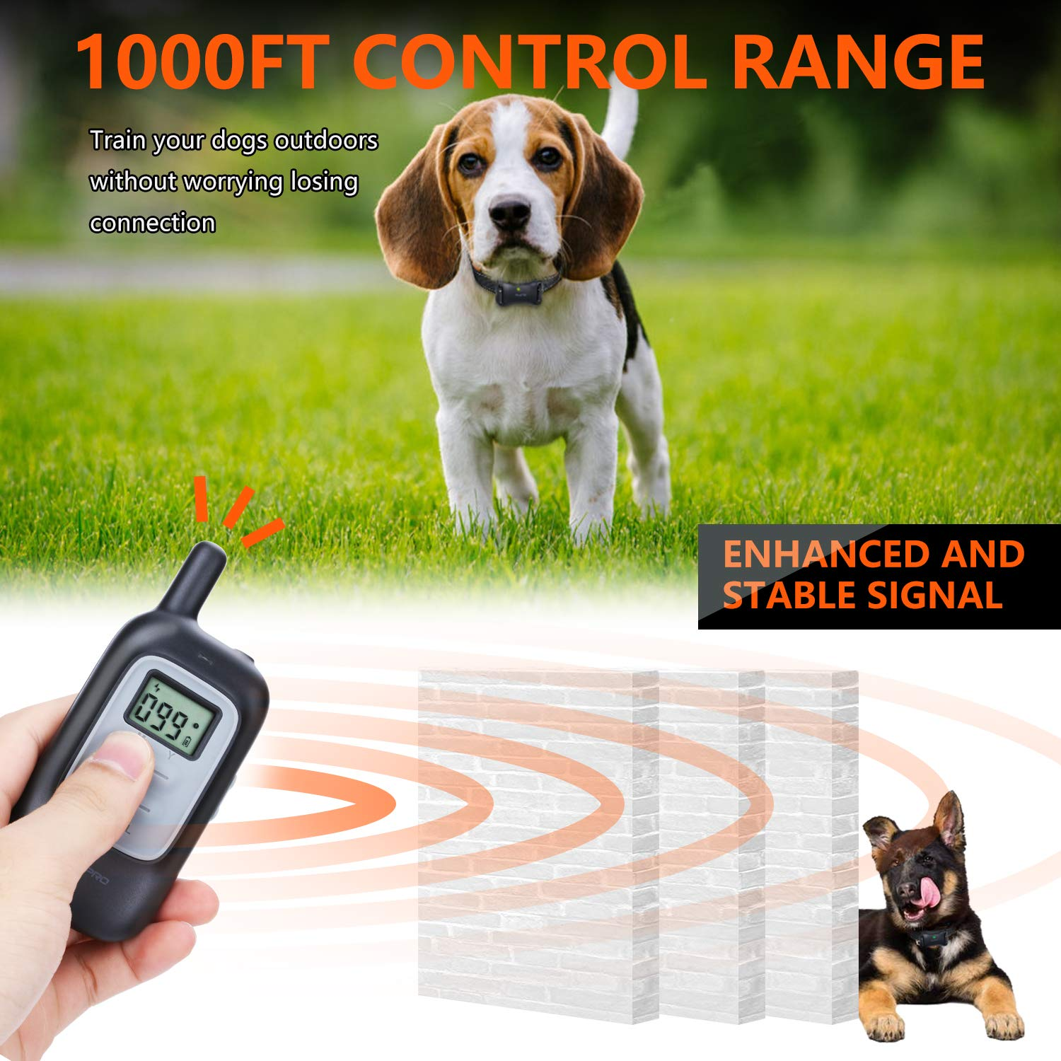 Shock Collar for Dogs - Dog Training Collar with Remote 1000Ft Rechargeable Rainproof Anti Bark E Collar,Beep Vibration Shock for Small Medium Large Dogs (2018 New) by MOSPRO (Image #4)