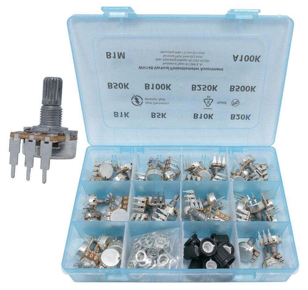 Potentiometer Assortment 48 pcs 10 values 1K 5K 10K 20K 50K 100K 250K 500K 1M vertical terminals linear B and audio Logarithmic A100K 3pdt A-B-016