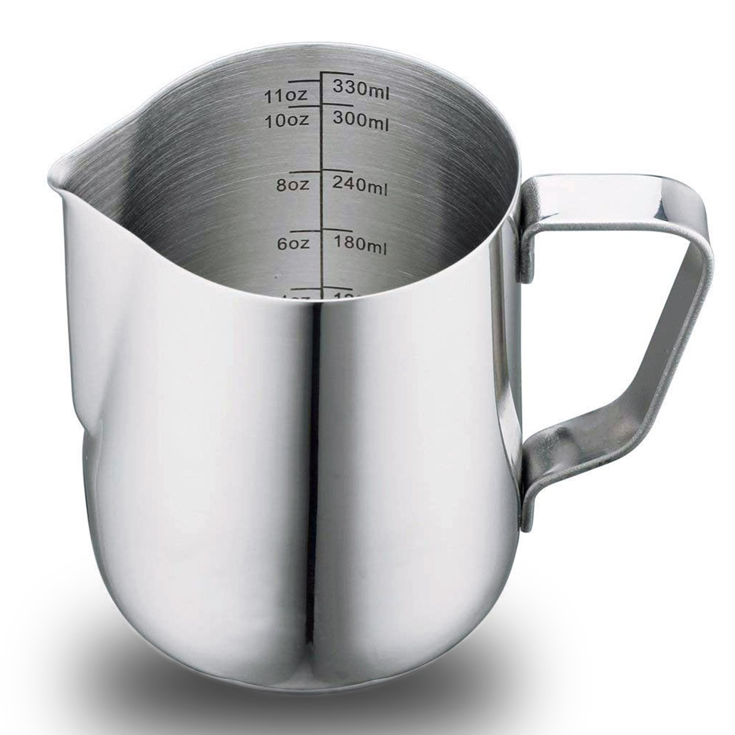 6 Oz Stainless Steel Milk Frothing Pitcher Cup, Measuring Scales for Espresso Cappuccino Milk Coffee Latte (350ml 1 Pack)