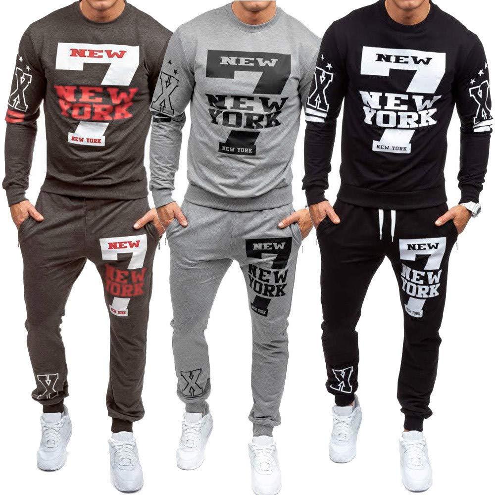 Cebbay Moda De Los Hombres Casual New York Printed Jersey Sudadera con Capucha Liquidación Chándal Manga Larga Cremallera Chaqueta + Pantalones: Amazon.es: ...