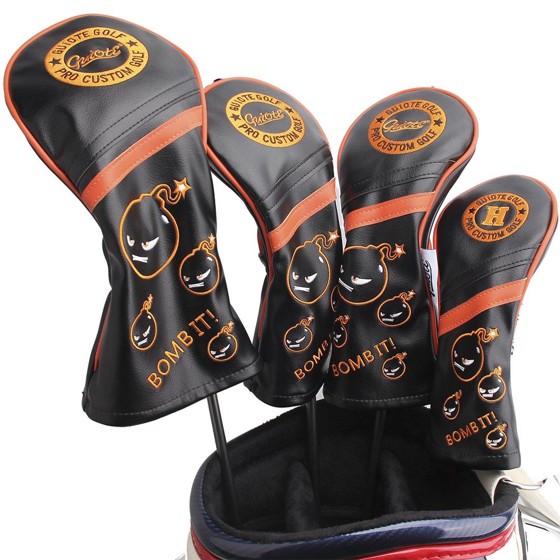 Guiote ゴルフヘッドカバー Golf head covers クラブヘッドカバー ウッドカバー ドライバー 新デザイン 交換可能な番号タグ付き(#2.#3.#4.#5.X) 4個セット B076NM2HNM BOMB-Black BOMB-Black