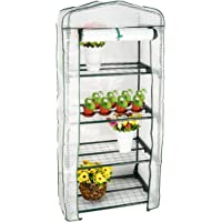 GreenWise 4-Tier Portable Mini Greenhouse White Cover Replacement Warm Garden Tent for Grow Seeds & Seedlings, Tend Potted Plants Growing (Without Shelf)