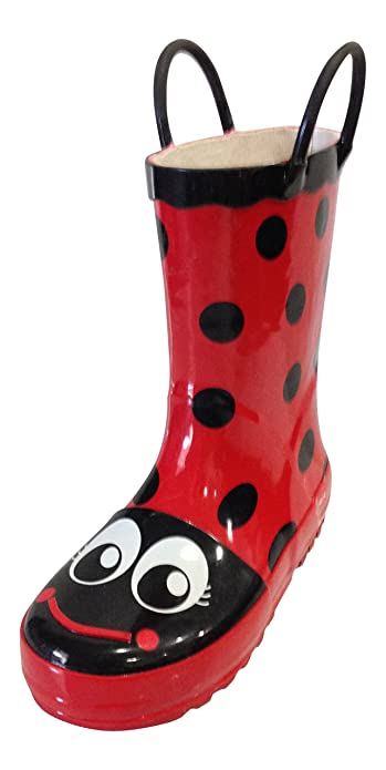 Amazon.com | Girls Red Toddlers / Kids Rain Boots Polka Dot