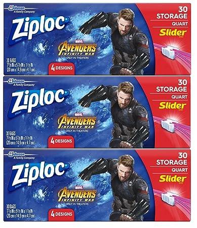 Ziploc Brand Slider Storage Bags Featuring Marvel Studios' Avengers:  Infinity War Designs, Quart, 30 ct, 3 Pack