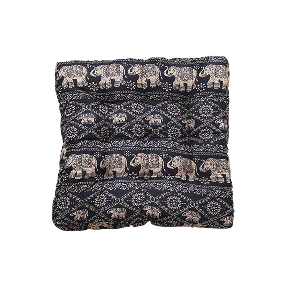 TMJJ Cotton Linen Floor Pillow Square Japanese Futon Seat Cushion Thicken Chair & Bay Window Pad 21'' x 21'' (Elephant)