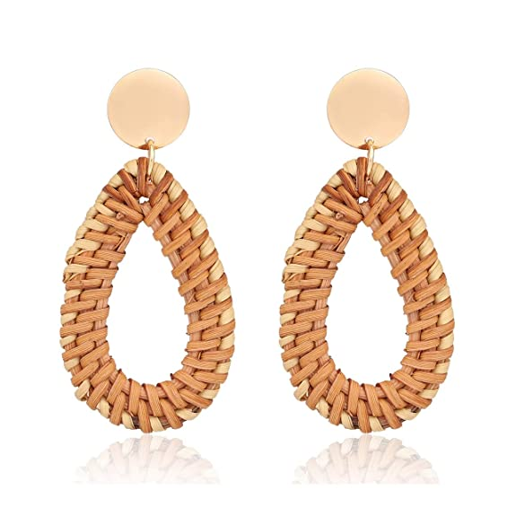 CEALXHENY Rattan Earrings Straw Wicker Braid Drop Dangle Earrings Lightweight Handmade Stud Earring for Women Girls (B Drop)