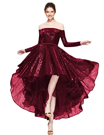 598909660f65 YSMei Women s Off The Shoulder Sequin Prom Dress Long Sleeve High Low  Evening Gown Burgundy 2