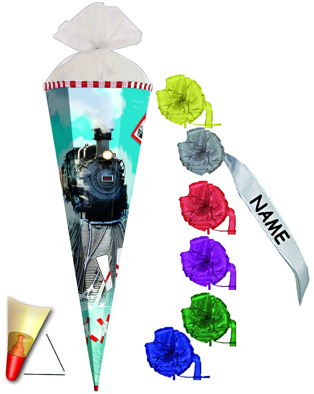 Alles-meine  GmbH mit Sound Effekt & LED Licht   - Schultüte -  Eisenbahn - Lokomotive  - 85 cm - 6 eckig - incl. individueller Schleife - Organza Abschluß - Zuckertüte Roth .. B01FXXEUUE    | Kaufen Sie online