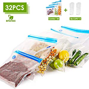 VICARKO Vacuum Sealer Zipper Bags BPA Free with Air Valve Double Layers Sous Vide Cooking Replacement for Portable Handheld Pump Reusable Resealable Plastic Sandwich Freezer Bags for Food Storage Kitchen Combo