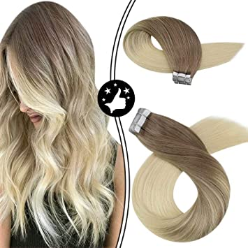 Image ofMoresoo 14 Pulgadas/35cm Double Drawn Cabello Humano Brazilian Extensiones Adhesivas el Brown #6 to Bleach Blonde 20pcs/50g Tape in Remy Extensiones Pelo
