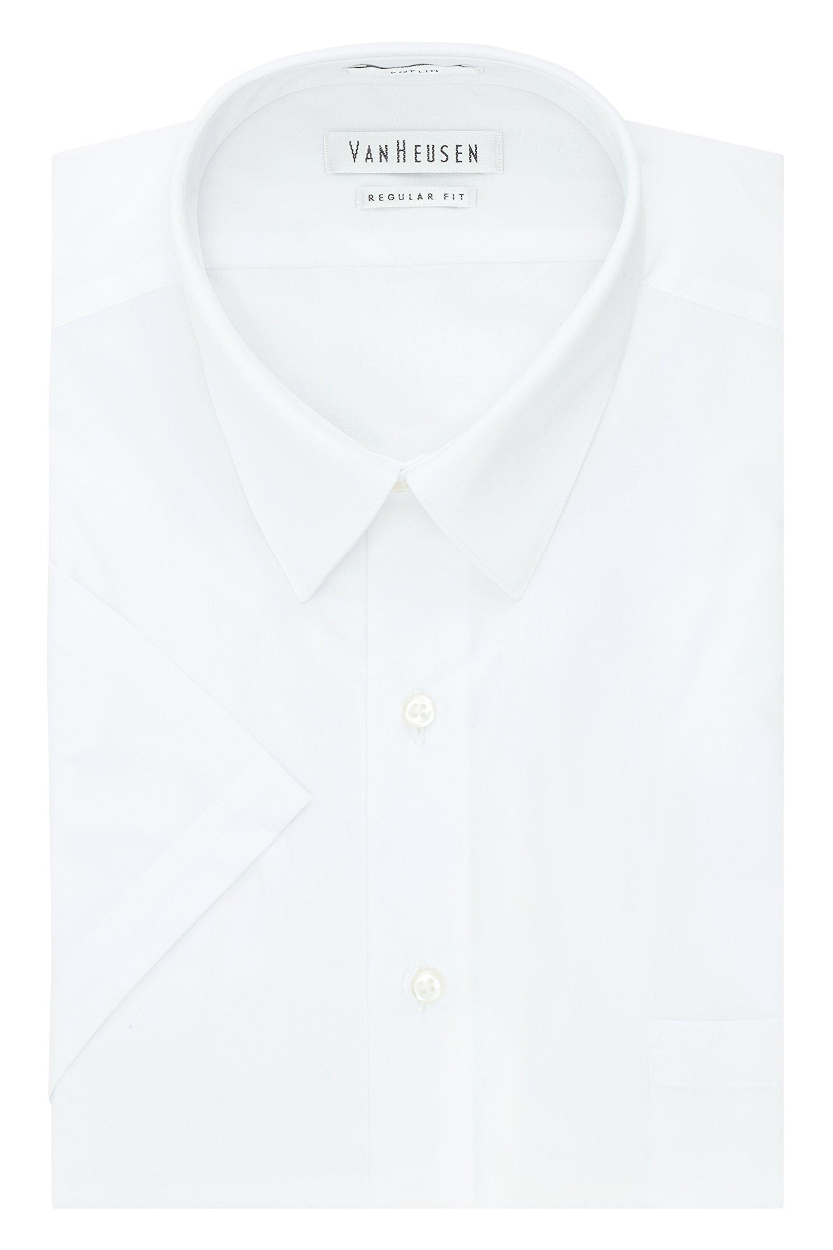 Van Heusen Men's Short Sleeve Poplin Solid Dress Shirt, White, 17.5'' Neck by Van Heusen