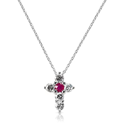 297c293d08a3 Image Unavailable. Image not available for. Color  BRAND NEW Ruby   Diamond  Cross Pendant in 14K White Gold ...
