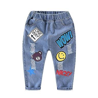 d9b81bac4e414 De feuilles Chic-Chic Pantalon Jeans Garçon Enfant Casual Denim Motif  Elastique Soft Impression Floral Printemps: Amazon.fr: Vêtements et  accessoires