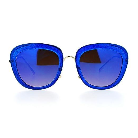3c5aefe5f45ca Amazon.com  Glitter Sparkle Sunglasses Womens Square Frame Pop Bling ...
