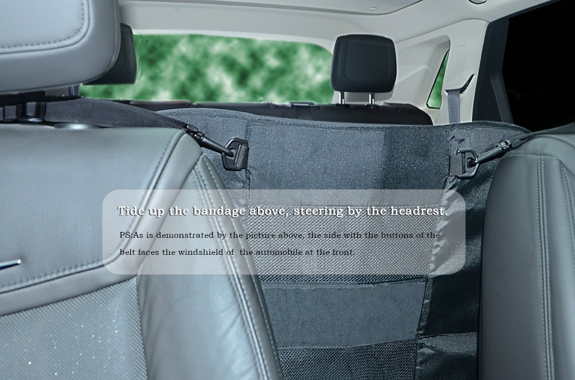 """Wellbro Dog Car Backseat Barrier, Padded and Adjustable Nylon Pet Barrier, Vehicle Dog Fence with 2 Mesh Windows, For Safe Driving, L24"""" x W24"""" by Wellbro (Image #5)"""