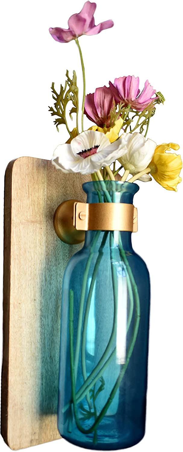 AIKYA Hanging Rustic Flower Vase in Blue with Faux Flowers Arrangement – Floral Farmhouse Sconces Wall Decor is a Modern Decoration for Home or Office – Classy and Elegant
