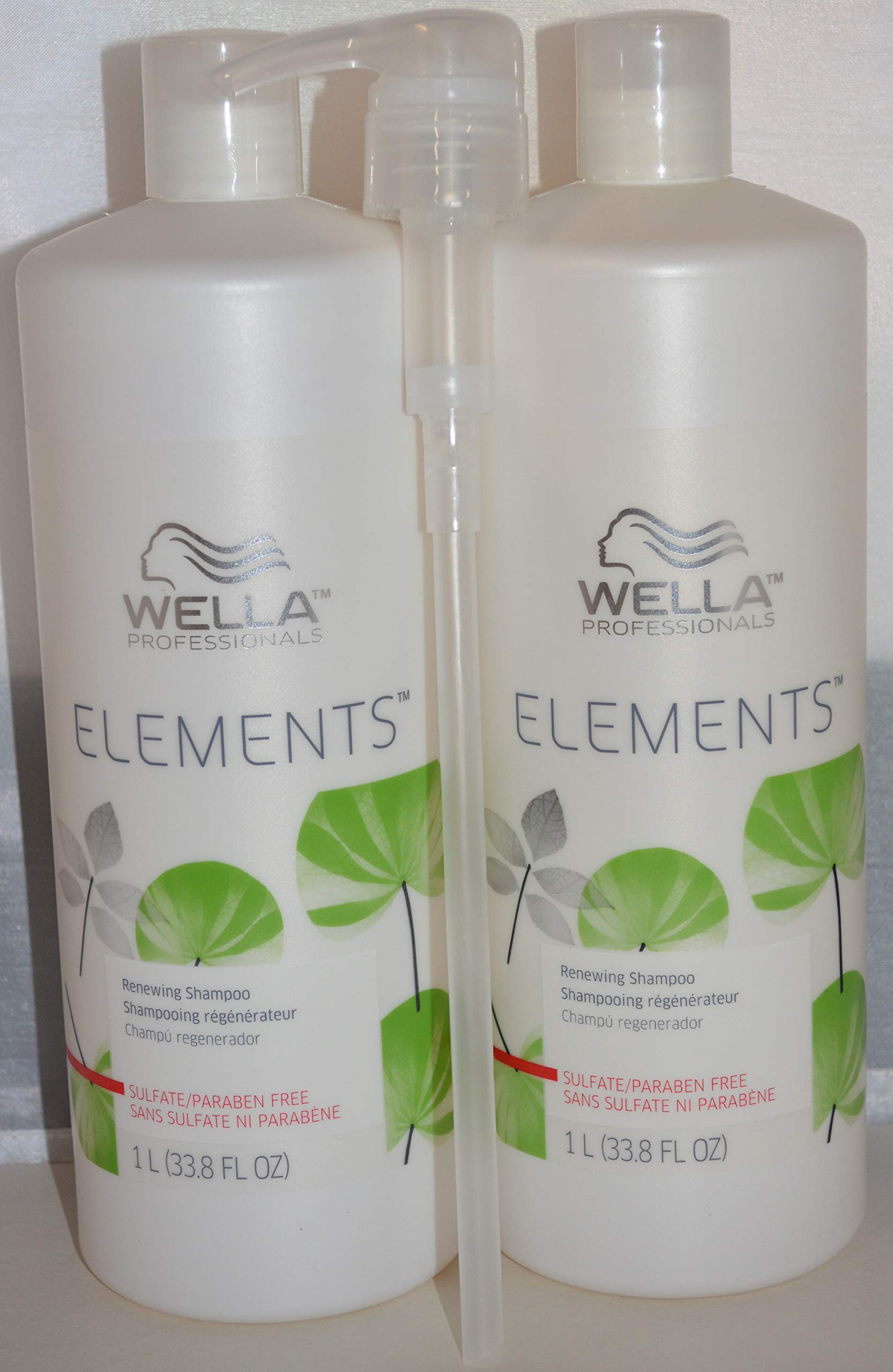 Wella Elements Renewing Shampoo - Paraben Free 33.8oz (2 pack) Includes 1 Free Pump by Generic