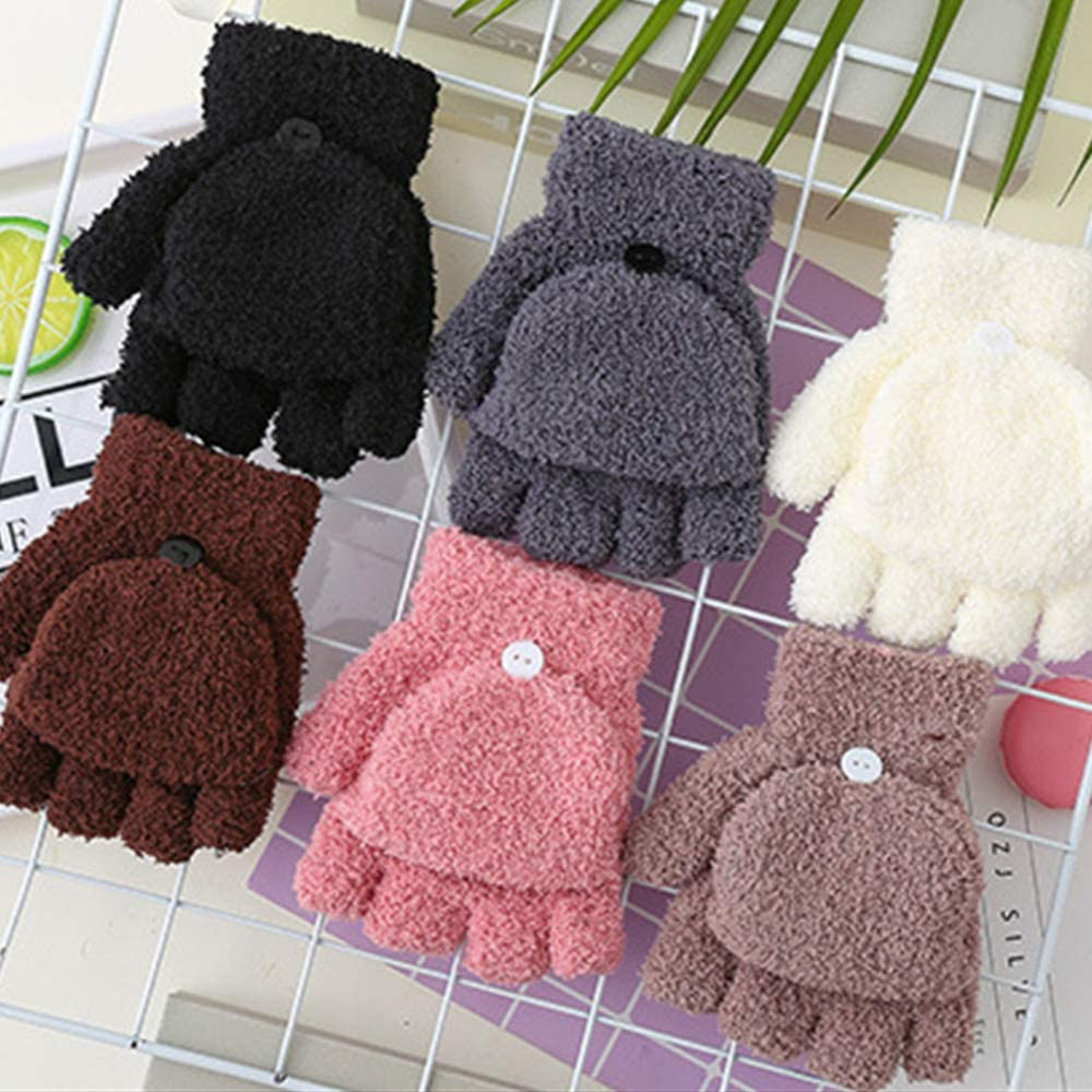 Kids Winter Glove,knit Flip Half FingerGloves Warm Mittens With Mitten Cover Cute Cartoon for 3-8 Ages Boys and Girls