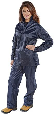 Ladies Womens Waterproof Suit Jacket   Trousers Rain Set (Small 38 quot   Chest) Navy 4bd4eade57