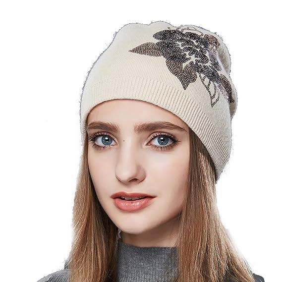 URSFUR Bonnet à Fleur Laine Femme Fille Bonnet Chapeau Beanie Jersey Tricot  Hiver Beige