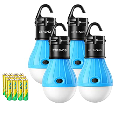2 Pack/4 Pack E-TRENDS LED Lantern Tent Camp Light Bulb for Camping Hiking Fishing Emergency Lights, Battery Powered Portable Lamp
