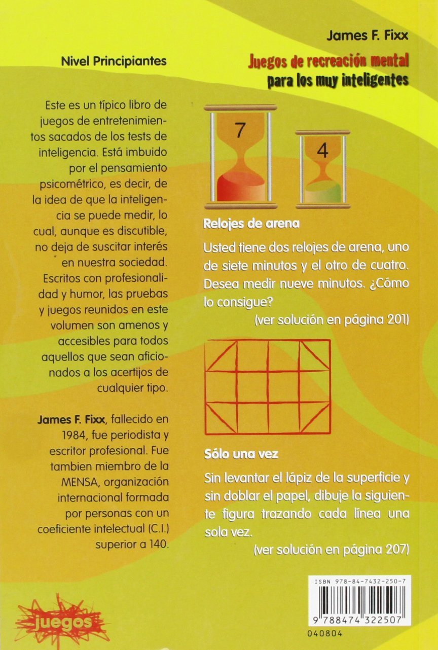 Juegos de Recreacion Mental Para Muy Inteligentes (Coleccion Juegos) (Spanish Edition): James F. Fixx: 9788474322507: Amazon.com: Books